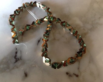 ON SALE! Galaxy Cut Glass Beads, Green and Gold, 6mm. One strand. Destash