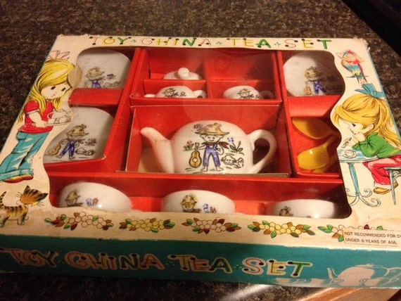 Toy Tea Sets For Boys : S adorable toy china tea set farm boy and puppy