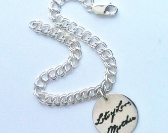 Handwriting Charm Bracelet, Writing or Drawing on silver, Handwritten Jewelry, personalized Mother's Day gift for Mom, Sister or Daughter