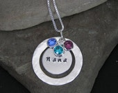 25% OFF SALE Use Coupon Code BEMERRY25 Personalized Hand Stamped Mom Nana Grandmother Necklace Birthstones