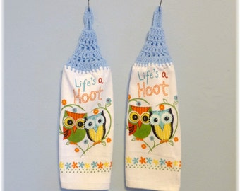 Looped Hanging Kitchen Towels Owls