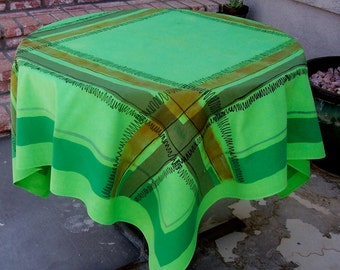 Vintage Mid Century Mod Tablecloth Greens Plaid