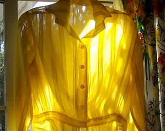 Antique EDWARDIAN Blouse DAFFODIL yellow SHEER