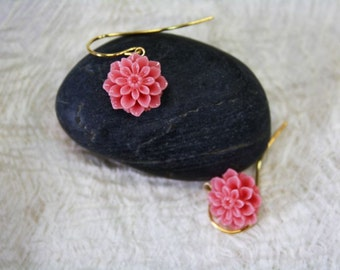 pink Earrings, Flower Earrings, Dahlia Flower Earrings, Flower Earrings, Bridesmaid Jewelry, Wedding Party Gifts, Romantic, Gift for Her