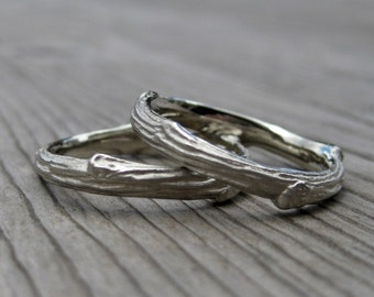 Twig Wedding Band Set: Two 3mm Rings