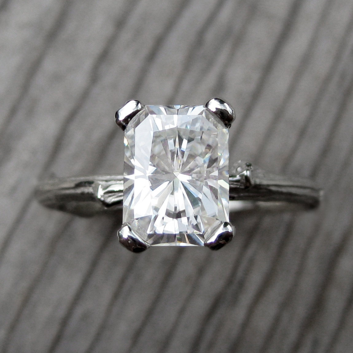 emerald moissanite twig engagement ring 18ct by
