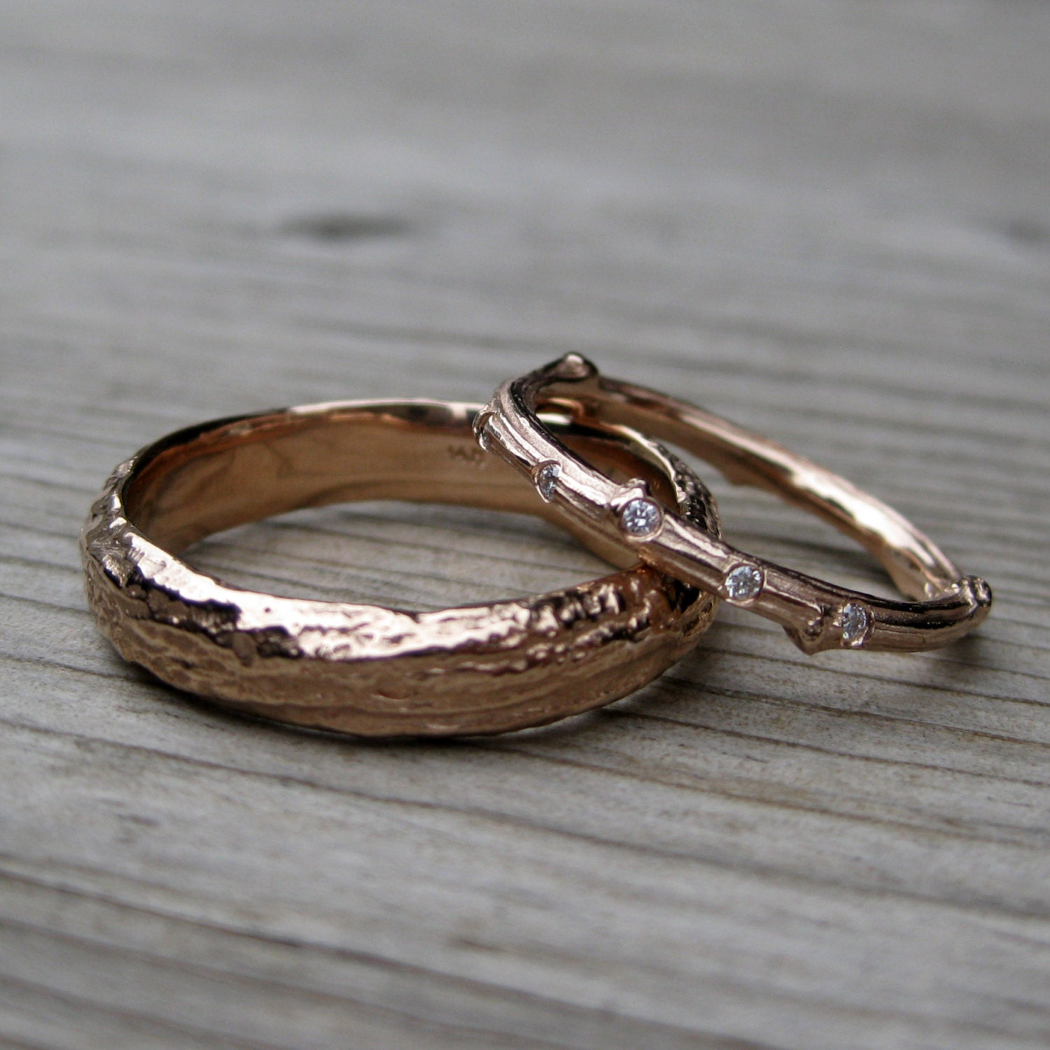 twig wedding ring twig wedding band set scattered band by kristincoffin 8131