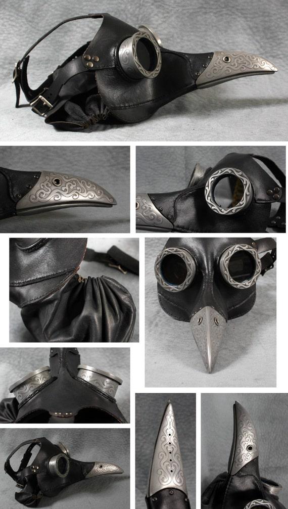 "Steampunk Plague Doctor Mask in black ""Ichabod"""