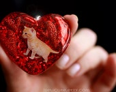 Jewellery Cat Lover Glitter Resin Heart Necklace - Cute Tabby Tiger Kitten Necklace - Red Glitter Hearts - One of a Kind Handmade isewcute