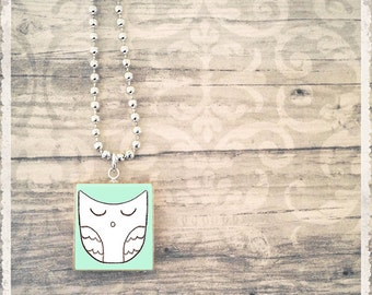 Scrabble Game Tile Pendant - My Owl Family - Owlee - Scrabble Jewelry Charm - Customize