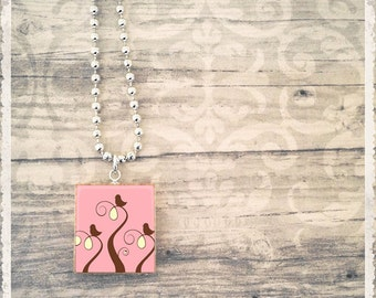 Scrabble Tile Art Pendant - 3 Birds In A Tree Pink - Scrabble Jewelry Charm - Customize - Choose Your Style