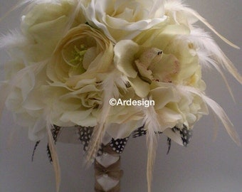 FRENCH  VANILLA CREME Wedding Bouquet With Guinea Feathers