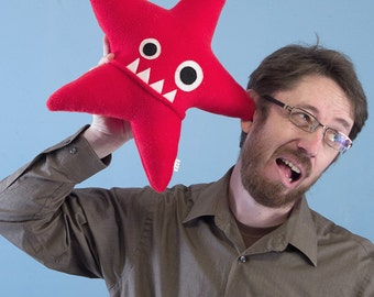 Large Starfish Fleece Plush - Red