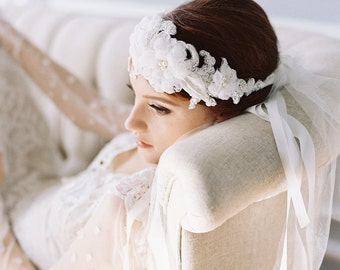 Bridal cap, bridal headpiece, French lace headband, silk flowers, veil, Style 1953 Versailles