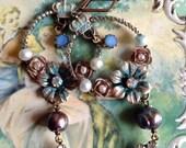 Lilygrace Princess Rose Hoop Earrings with Freshwater Pearls and Vintage Rhinestones
