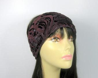 Flapper Head Wrap Womans Head Wrap Retro Gatsby Flapper Head Wrap Burgundy Hair Scarf Headbands Head Wraps Turban Head Wraps Boho Head Wraps