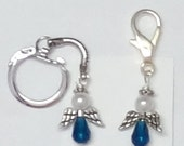 Teal and White Cervical Cancer Angel Purse Charm or Key Chain - ACS Relay for Life Donation - Ready to Ship