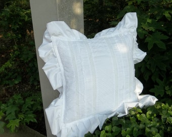 Custom Ruffled Pillow White Eyelet Pillow Custom Sizes Decorative Pillow French Country Prairie Farmhouse Cottage Chic Ivory Eyelet Pillow