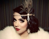 Great Gatsby Headpiece - Champagne Feather Fascinator - 1920s Flapper Headband - Pearl Hair Accessory - Girls Dance Costume