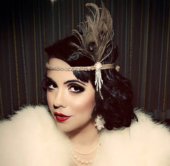 Great Gatsby Headpiece Champagne Feather Fascinator 1920s