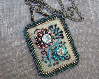 Vintage Rhinestone Necklace, Embroidery on Moss Green Linen, Bead Embroidery, Brass Chain