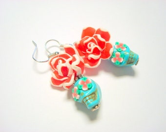 Sugar Skull Earrings Turquoise, Red, and White Day of the Dead Roses and Sugar Skull Beads