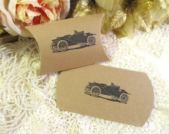 Antique Roadster Car Favor Candy boxes - Kraft Party Favor Small Pillow Boxes- Set of 10 - wedding party 1920's vintage rustic