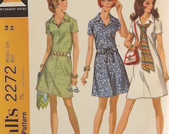 Vintage 70's Sewing Pattern, Misses Dress, Size 14