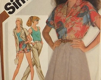 Vintage 80's Sewing Pattern, Misses Shirt, Tank Top, Skirt, Shorts Size 12