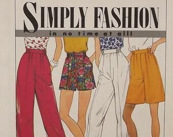 Vintage 90's Sewing Pattern, Misses' Summer Shorts, Pants, Capri, Size 6 - 14