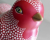 Birdie: Red and White hand painted ceramic Bird