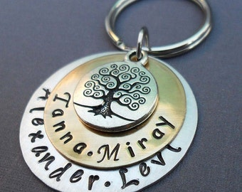 My Family Keychain - Tree of Life and Names - Hand-Stamped Personalized Keychain- Personalized Family Keychain - K33