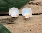 Rainbow Moonstone Earrings in Gold, Silver, Platinum, or Palladium with Genuine Gems, 6mm - Free Gift Wrapping