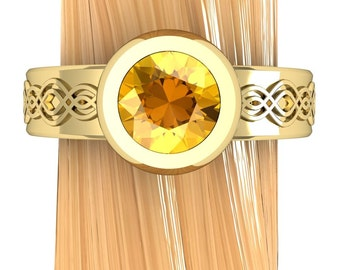 Montana Yellow Sapphire Ring, Low Profile Engagement Ring in Yellow Gold, White Gold, Platinum, or Palladium