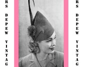 "Vintage Crochet Pattern 1930's Gimp Hat Pattern ""The Skyscraper"" -INSTANT DOWNLOAD-"
