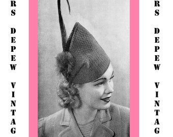 "Vintage Crochet Pattern 1930's Gimp Hat Pattern ""The Skyscraper"" -INSTANT DOWNLOAD-"