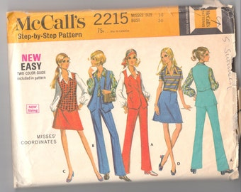 """Vintage Sewing Pattern Misses' Top, Skirt, Vest and Pants McCall's 2215 36"""" Bust - Free Pattern Grading E-book Included"""
