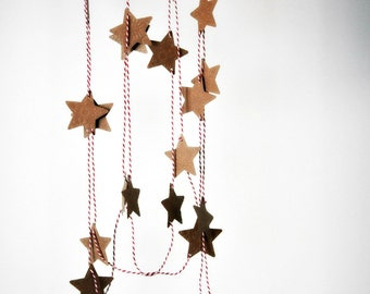 Rustic Star Garland | Embossed Kraft Star Garland | Kraft Star Garland | Paper Decoration | Holiday Decor | Teacher Gift | Gift under 20