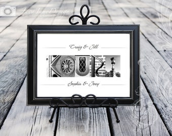 Alphabet Photography Personalized Name Frame in Architecture Letter Photos - Black or Ivory Frame 8x10