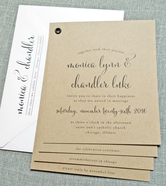 wedding invitation sample black calligraphy font rustic wedding