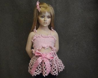 Clothing Sets,Crochet Tutu,Crochet Top,Children,Toddler,Bandeau Top, Pink Skirt,Pink Top,Girls,
