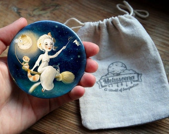 The Merriest Witch pocket mirror | fantasy mirror cat pocket mirror witch's cat | Meluseena pocket mirror