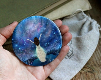 Reach For The Stars pocket mirror | empowerment mirror, feminist pocket mirror, galaxy, self confidence, inner strength | by Meluseena