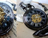 2 x  Steampunk Mens Lion Pocket Watches -  Lion Face or Lion Body - Skeleton Hand-Wind Mechanical Watches - Gifts for Him Groomsmen Wedding