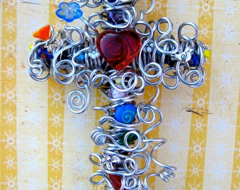 Decorative Cross / Decorative Wall Cross / Silver Wire Wall Cross / Red Heart Focal / Artsy Cross / Colorful Cross / Valentine Gift Cross
