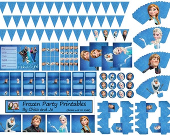Disney Frozen Party Printables Set -- BLUE -- With Customizable Invitations!