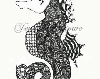 "Giclee Art Print: ""Miss Coral H. Campus"" a Pen and Ink Jentangle"
