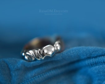 one-of-a-kind filed Sterling Silver/bronze ring.... handmade by Rasa L.