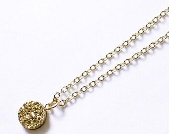 Gold Druzy Pendant Gold Bezel Necklace Gemstone Necklace Gold Druzy Jewelry Gold Drusy Jewelry Titanium Fine Druzy Necklace FD-P-105B-G/g