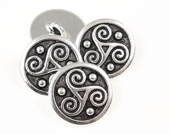 Triskele Celtic Buttons - Antique Silver Button Findings - 16mm TierraCast Leather Jewelry Findings (PF2132)